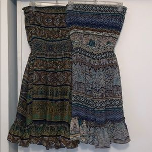 Strapless Aztec Printed Dress
